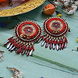 - Golden Red Flower - vyšívané náušnice - 7924010_