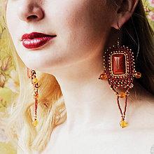Náušnice - Jasper earrings - vyšívané náušnice - 7924082_