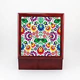 Krabičky - Krabička aj na šperky drevená farebné folk kvety 2 - 7922883_