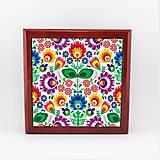 Krabičky - Krabička aj na šperky drevená farebné folk kvety 2 - 7922887_