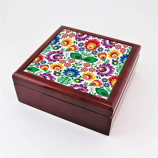 Krabička aj na šperky drevená farebné folk kvety 2