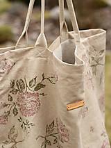 Veľké tašky - Veľká krémová ľanová taška s ručnou potlačou