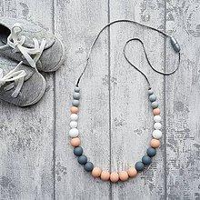 """Iné šperky - Silikónový náhrdelník na kojenie """"Broskyne v tieni"""" - 7924205_"""