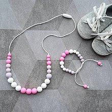 """Sady šperkov - Set silikónového náhrdelníka a náramku na žužlanie """"Marshmallow"""" - 7924244_"""