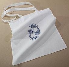 Nákupné tašky - Nákupná taška - tmavomodré kvety - 7920957_