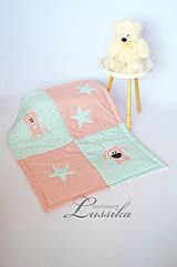MINKY deka mentolo-ružová 75x95cm