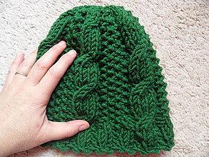 Čiapky - zelená čiapka osmičková - 7921228_