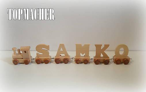 Drevený písmenkový vláčik - SAMKO