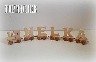 Dekorácie - Drevený písmenkový vláčik - NELKA - 7925799_