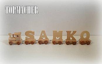 Hračky - Drevený písmenkový vláčik - SAMKO - 7925838_