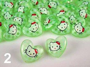 Galantéria - Gombík Hello Kitty v srdiečku - zelená - 7920946_