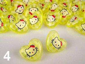 Galantéria - Gombík Hello Kitty v srdiečku - žltá - 7920948_