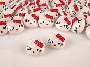 Galantéria - Gombík detský Hello Kitty - červená - 7923183_