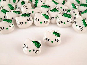 Galantéria - Gombík detský Hello Kitty - zelená - 7923261_