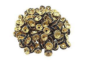 Korálky - Štrasová rondelka zlatá s čiernymi kamienkami - 7924581_