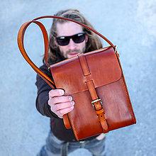 Iné tašky - Unisex kožená brašňa v natur farbe /A5/ - 7921884_
