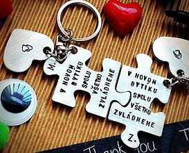 Kľúčenky - Máme nový bytík :) / puzzle+srdiečka / - 7928678_