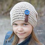 Detské čiapky - Prechodná homelles ... BEIGE s modrým gombíkom - 7929390_
