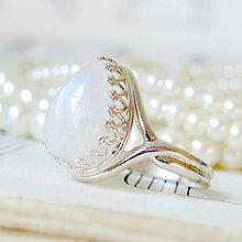 Prstene - Teardrop Moonstone & Silver Ag 925 Ring / Strieborný prsteň v tvare slzy s výberovým mesačným kameňom - 7926107_