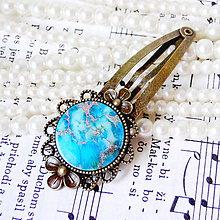 Ozdoby do vlasov - Vintage Flower Blue Sediment Jasper Hair Clip / Veľká vintage sponka s modrým jaspisom z morských usadenín - 7929495_