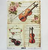 Papier - Ryžový papier na decoupage - A4 - R374 - noty, husle, ruža - 7926177_