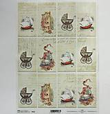Papier - Ryžový papier na decoupage - A4 - R533 - kočík, dieťa, vintage - 7928054_