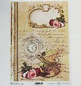 Papier - Ryžový papier na decoupage - A4 - R495 - šálka, čaj, ruža, čas - 7929247_