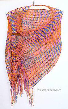 Šály - Pletená šatka - plecohrejka - 100% merino ručne farbené - 7928290_