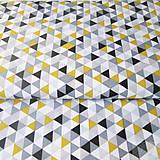 - žlto-sivé trojuholníky; 100 % bavlna Francúzsko, šírka 160 cm, cena za 0,5 m - 7928781_