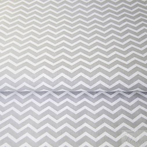 sivý mini cikcak; 100 % bavlna Francúzsko, šírka 160 cm, cena za 0,5 m