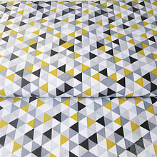 Textil - žlto-sivé trojuholníky; 100 % bavlna Francúzsko, šírka 160 cm, cena za 0,5 m - 7928781_