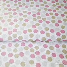 Textil - ružovo-sivé bodky; 100 % bavlna Nemecko, šírka 140 cm, cena za 0,5 m - 7929086_