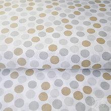 Textil - hnedo-sivé bodky; 100 % bavlna Nemecko, šírka 140 cm, cena za 0,5 m - 7929126_