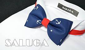 - Pánsky námornícky motýlik - modrý - kotvičky - červený - 7929931_