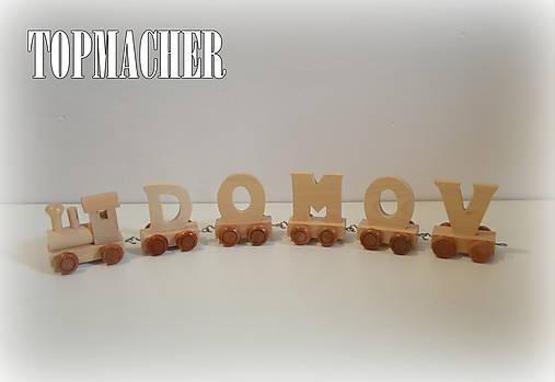 Drevený písmenkový vláčik - DOMOV