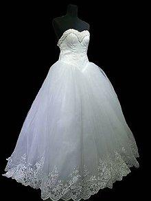 Šaty - Luxusné čipkovoperličkové snehovobiele svadobné šaty pre princezné - 7926770_