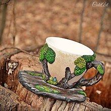 Nádoby - Voňavý les - šálka na kávu (ametyst, labradorit, ruženín, mesačný kameň, akvamarín) - 7927607_