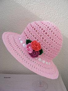 Čiapky - Letný klobúk rúžový - 7927709_