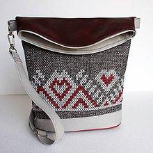 """Veľké tašky - Vyšívaná kabelka """"Sivá a červená"""" - 7929116_"""