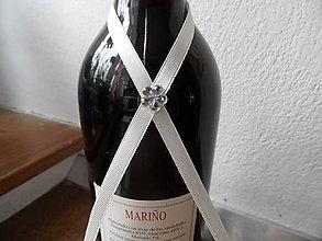 Darčeky pre svadobčanov - Mašlička na flaše - 7927524_