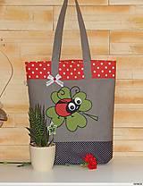 - Nákupná taška so štvorlístkom a lienkou - 7926703_