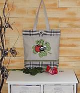 - Nákupná taška so štvorlístkom a lienkou - károvaná - 7926746_