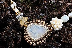 Náhrdelníky - Bielo-zlatý náhrdelník - 7927230_