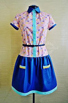 Šaty - Veselé motýlie šaty, košeľové - 7933771_