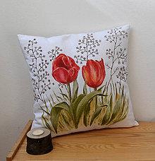 Úžitkový textil - Vankúš s tulipánmi-ručne maľovaný - 7932138_