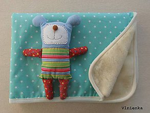 Textil - Mentolová deka 100% ovčie runo Merino TOP Mentolová Mint Hviezdička 70 x 100 cm - 7933514_