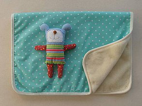 Úžitkový textil - Deka vlnená ovčie runo Merino TOP Hviezdička mentolová 100 x 140 cm - 7933733_
