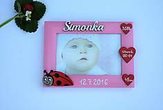 Fotorámik lienka s údajmi o narodení