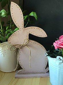Dekorácie - ružový Veľkonočný vintage zajko - 7934249_