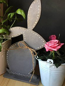 Dekorácie - Veľkonočný zajko sivý - 7934270_